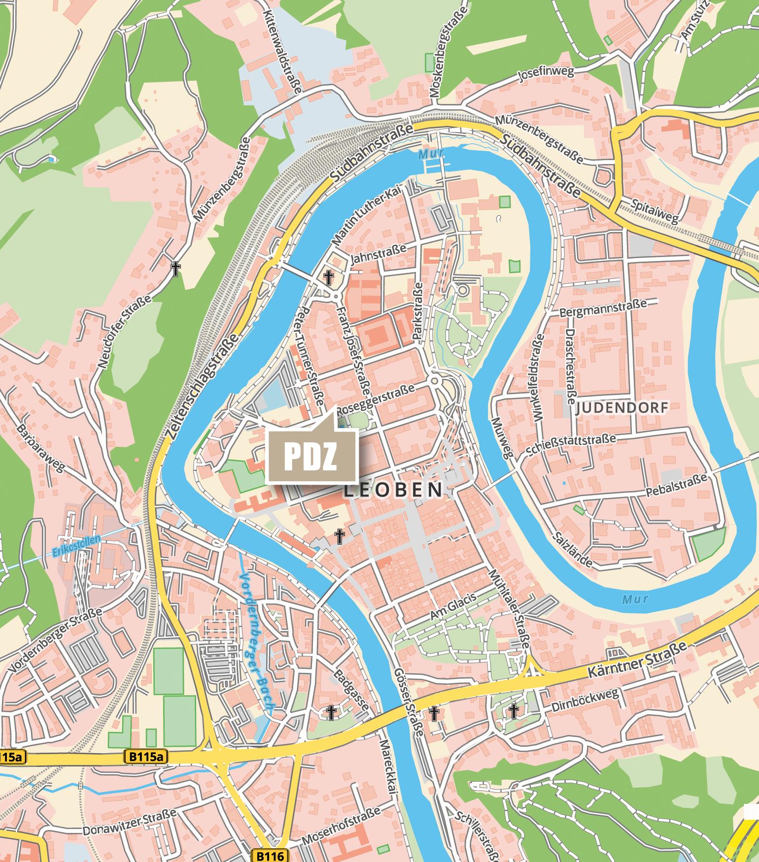 Lageplan PDZ Leoben